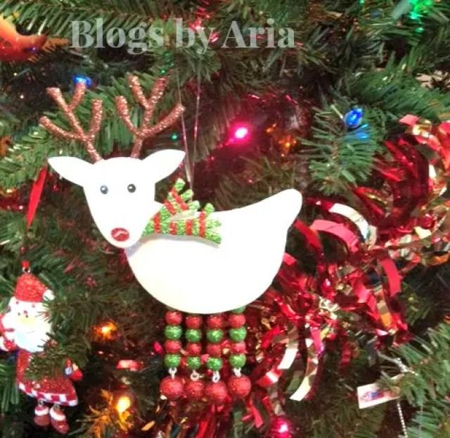 Pier 1 Glittered White Reindeer Ornament
