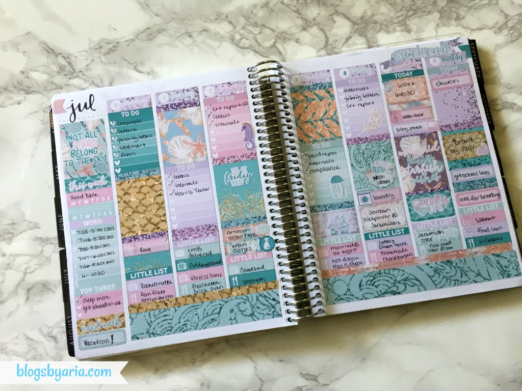 Little Miss Paperie ~ July Little Misstery Box ~ weekly planner spread
