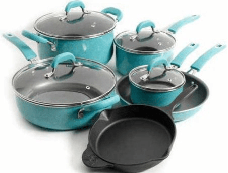 The Pioneer Woman Vintage Speckled 10-piece Non-Stick Pre-Seasoned Cookware Set