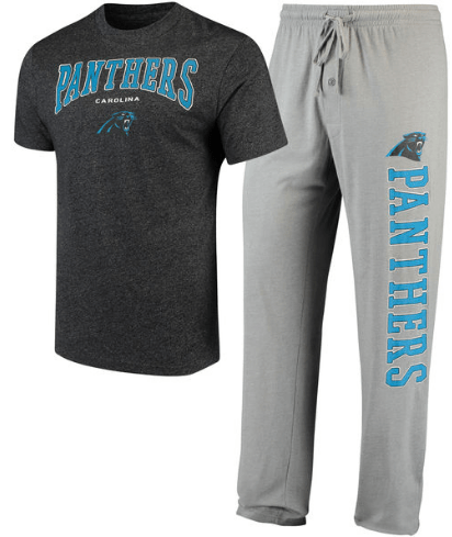 Gift Guide for Him | Men's Carolina Panthers Holiday T-Shirt and Pants Sleep Set
