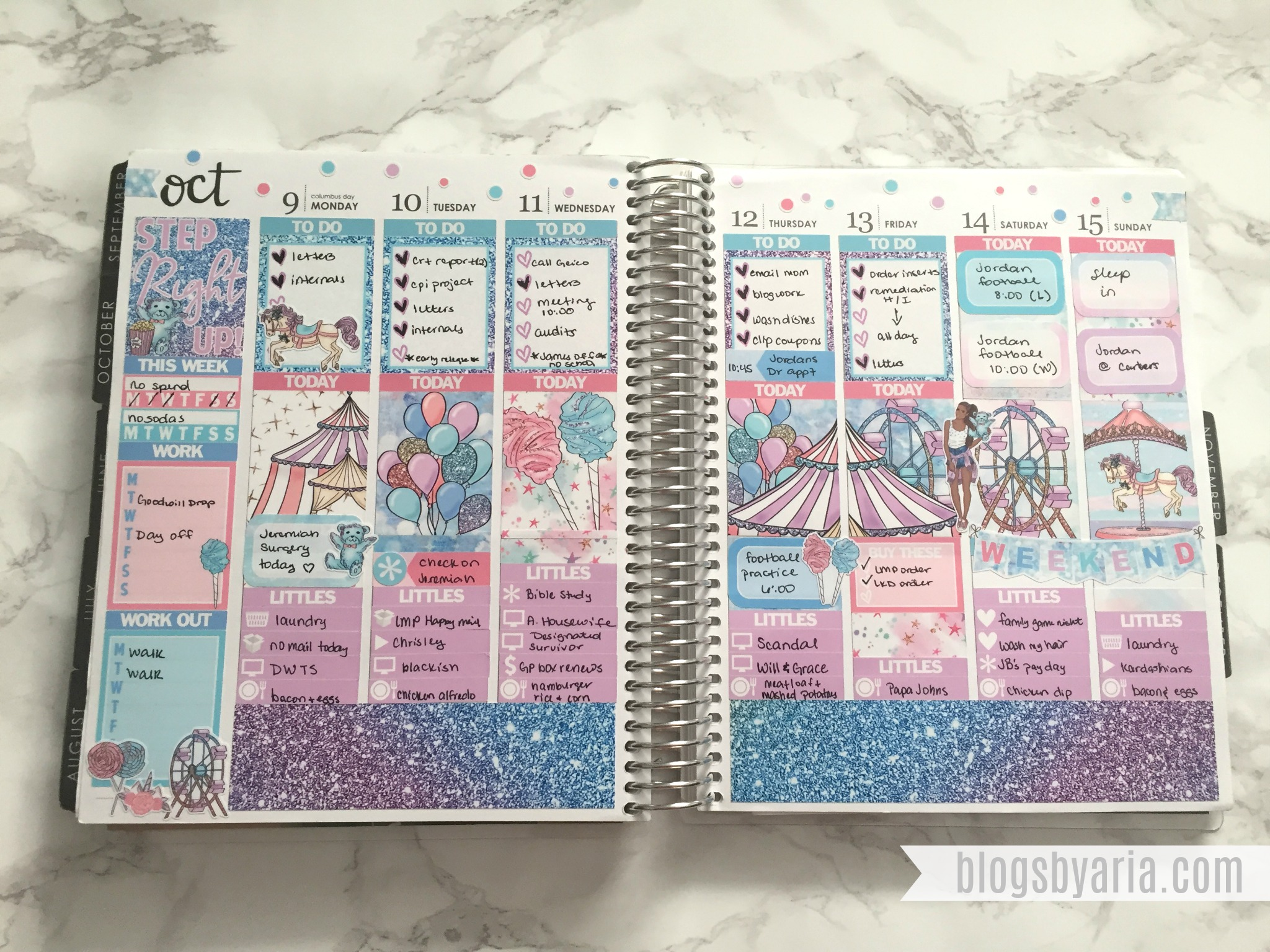 Glam Planner Carnival Kit weekly spread