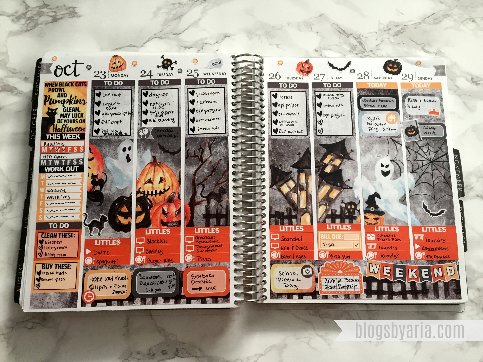 Glam Planner Haunted Halloween Spread