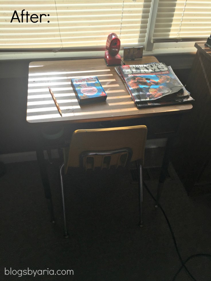 decluttered kids room desk after