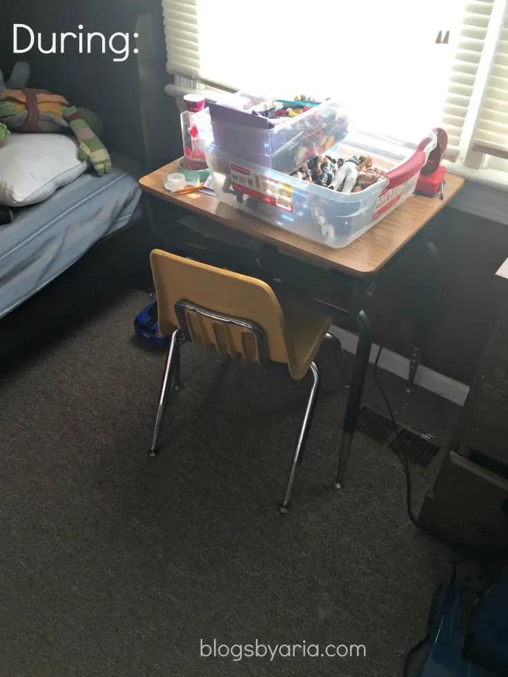 decluttered kids room desk during