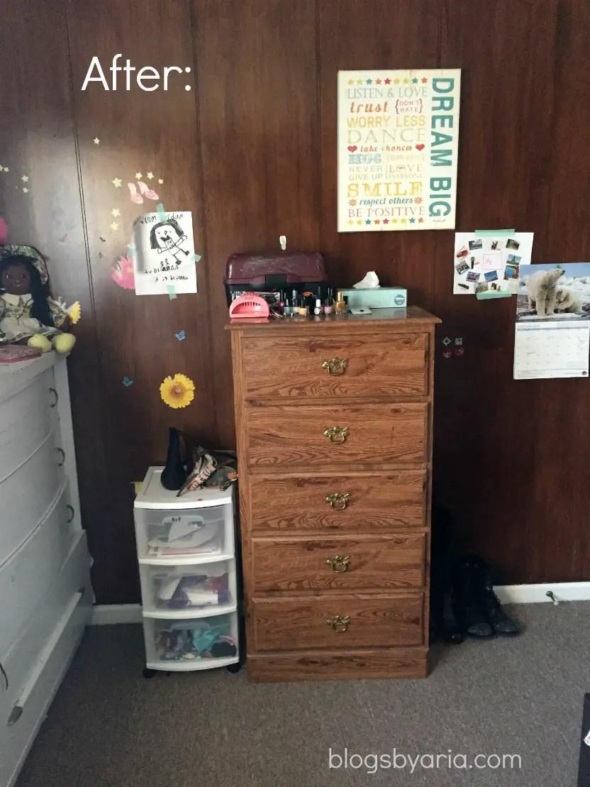 decluttered kids room dresser after