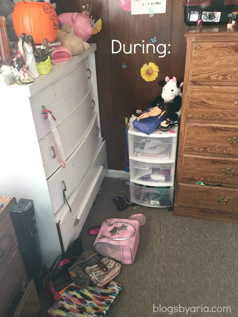 decluttered kids room dresser during