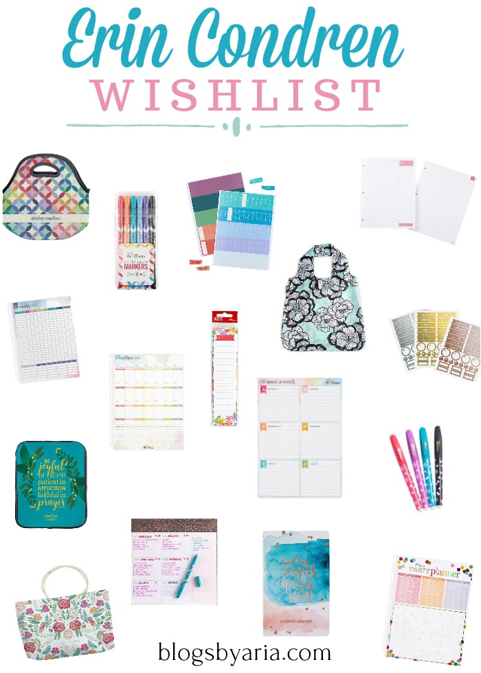 Erin Condren Wishlist filled with lots of planner goodies and accessories