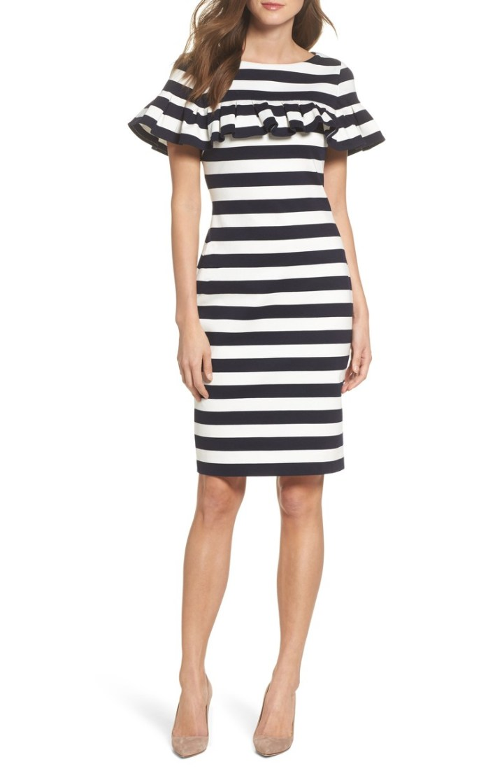Eliza J. Stripe Ruffle Sheath Dress