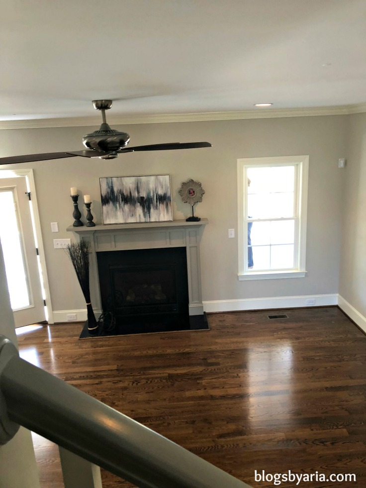 gray painted fireplace