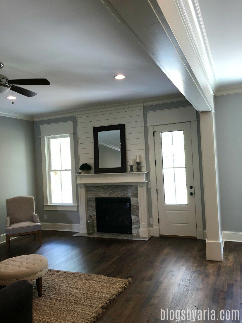living room with shiplap detail