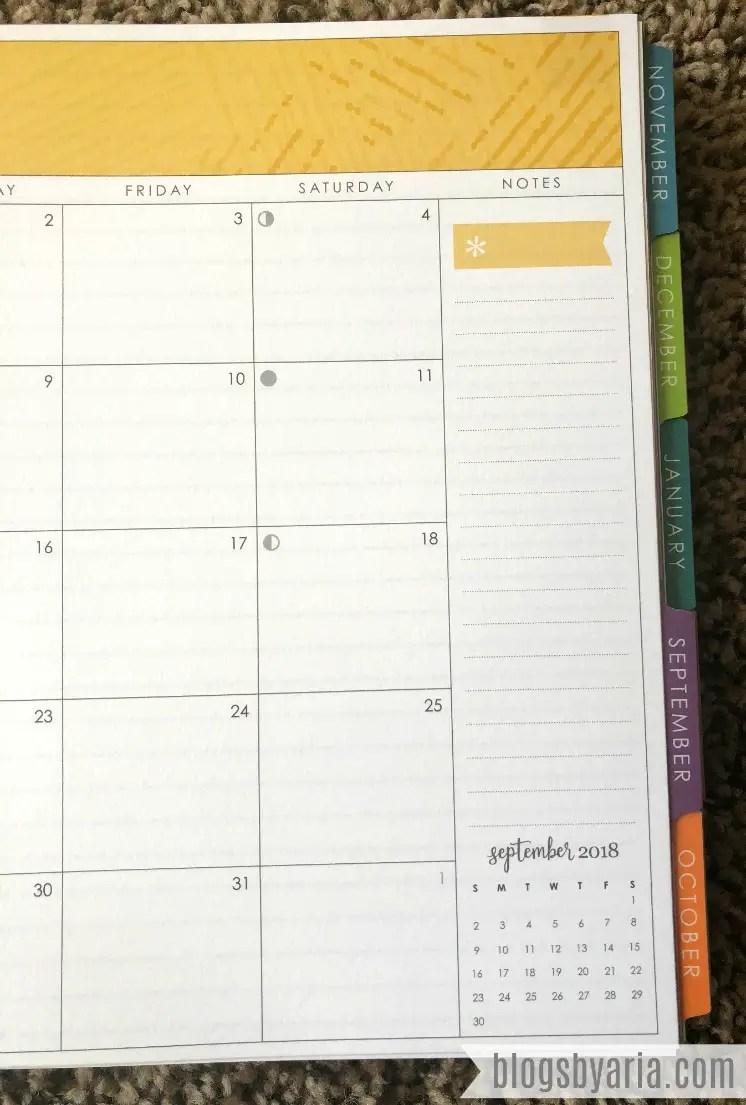 Erin Condren Deluxe Monthly Planner Mini Month Preview