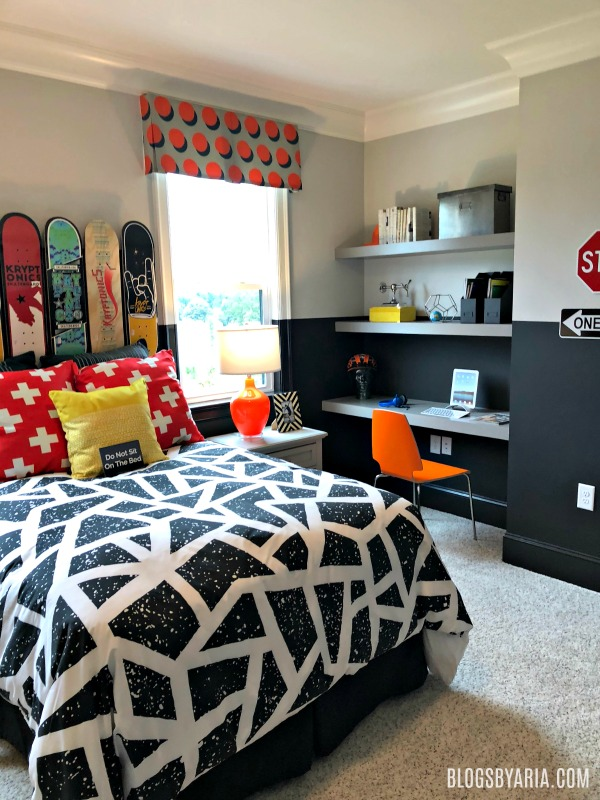 car/traffic themed boys bedroom