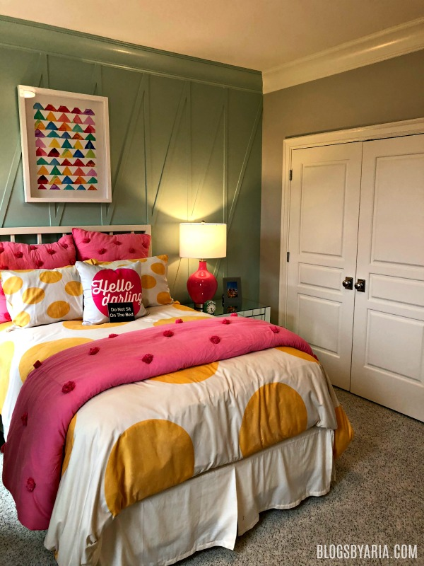 custom trim accent wall girls bedroom