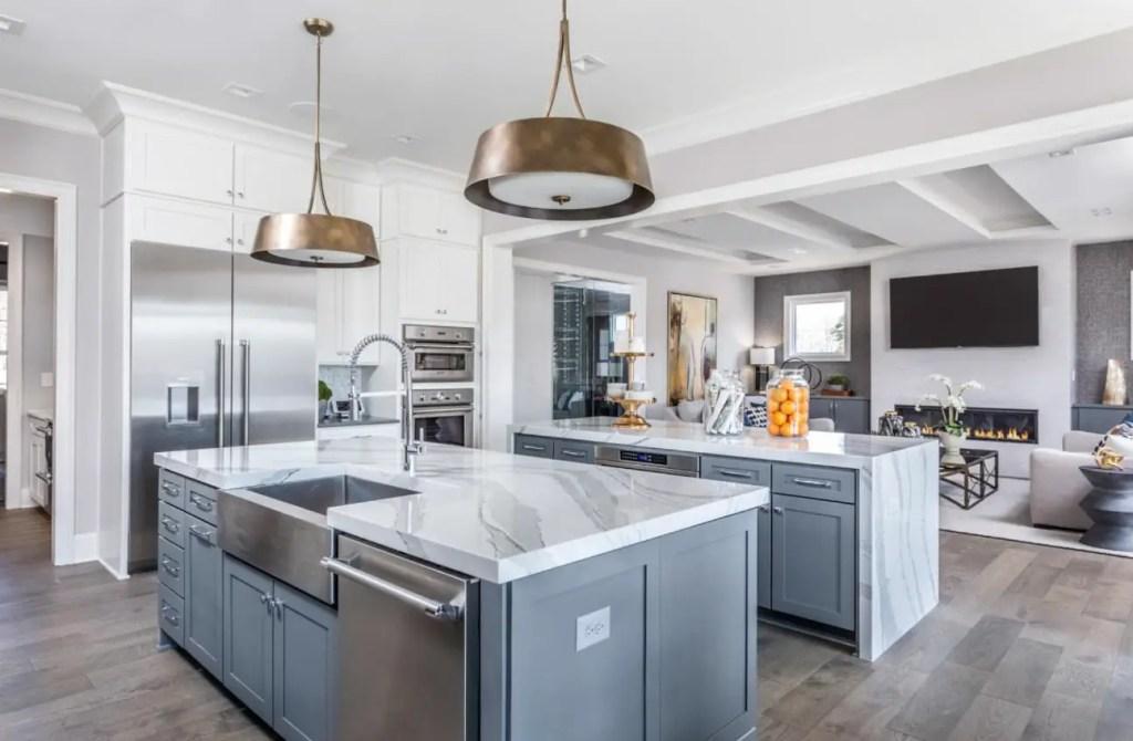 double islands white kitchen
