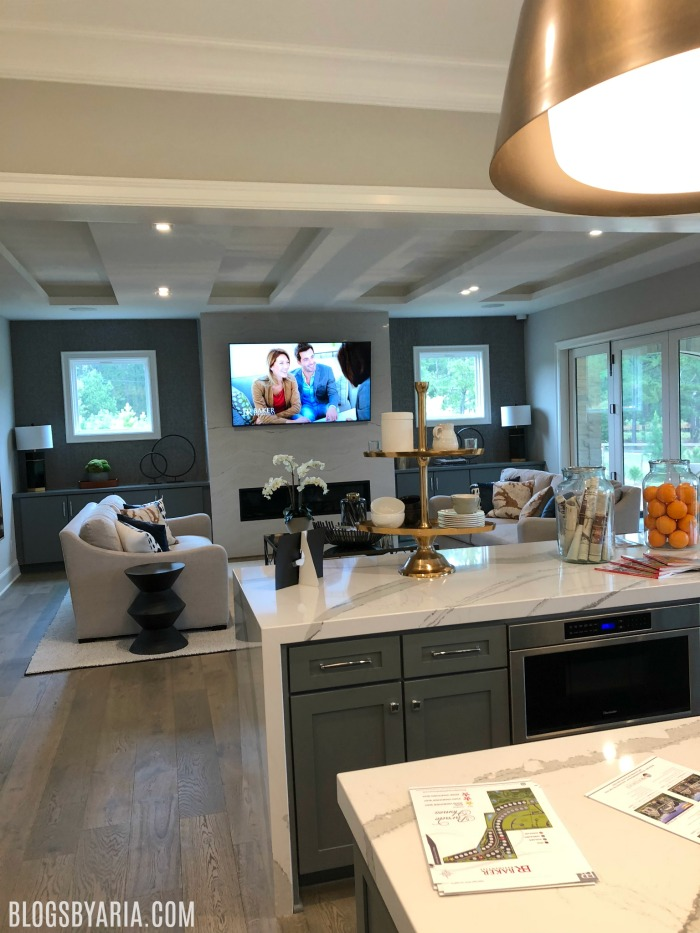 open concept view from kitchen to family room