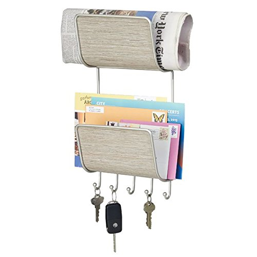 Two tiered magazine and mail holder with key rack