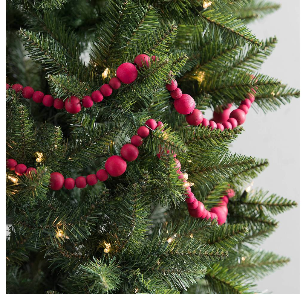 Red Wood Bead Garland perfect for trimming the tree on a budget
