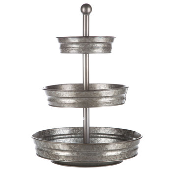 galvanized metal three tiered tray stand