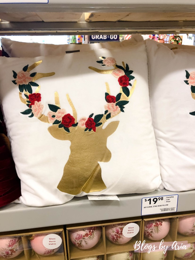 rose gold Christmas decor pillow