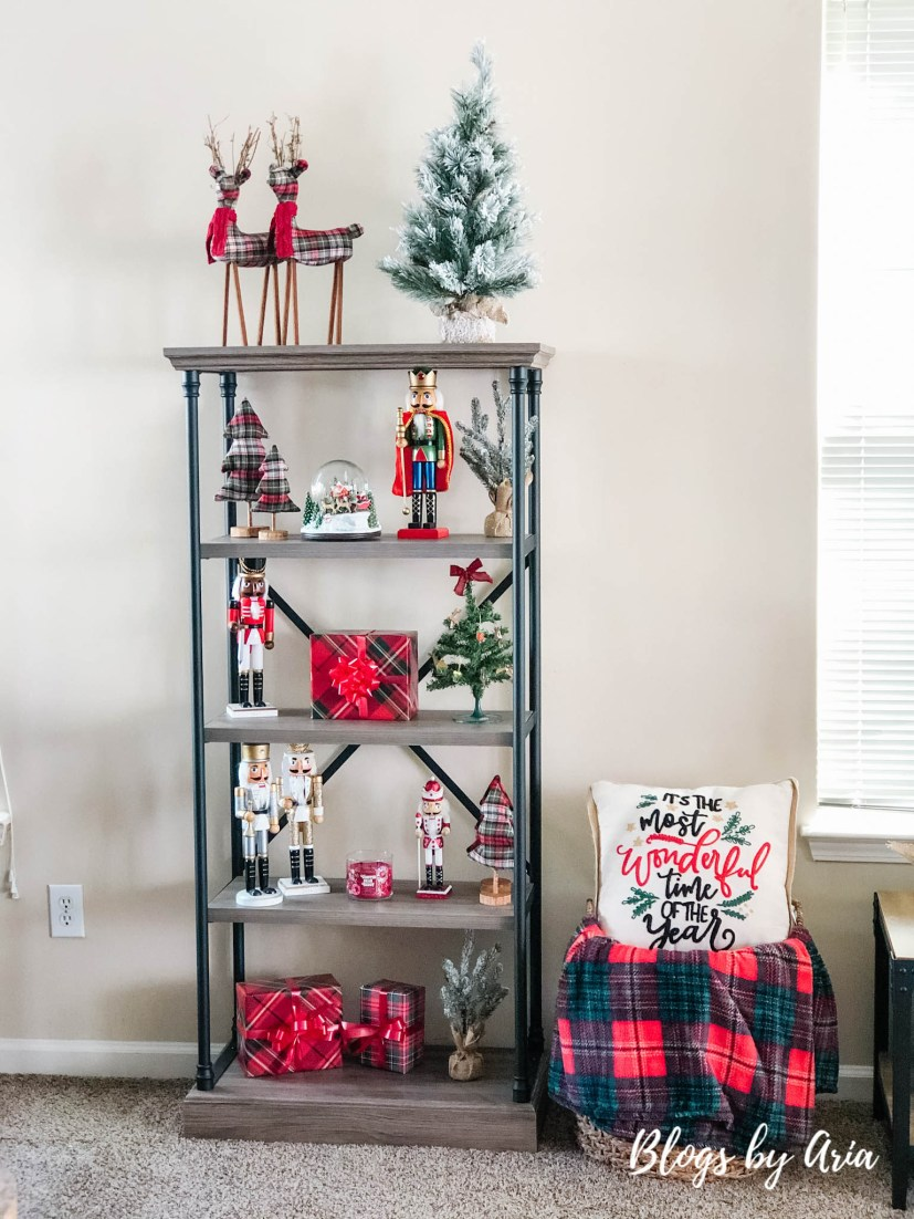 Christmas bookshelf decor