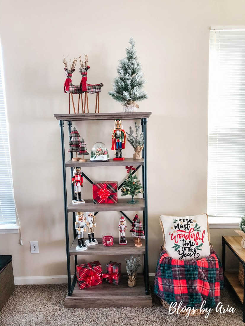 decorated Christmas shelves