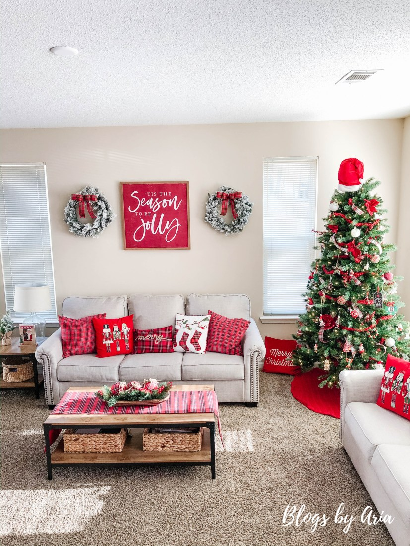 cozy red Christmas living room