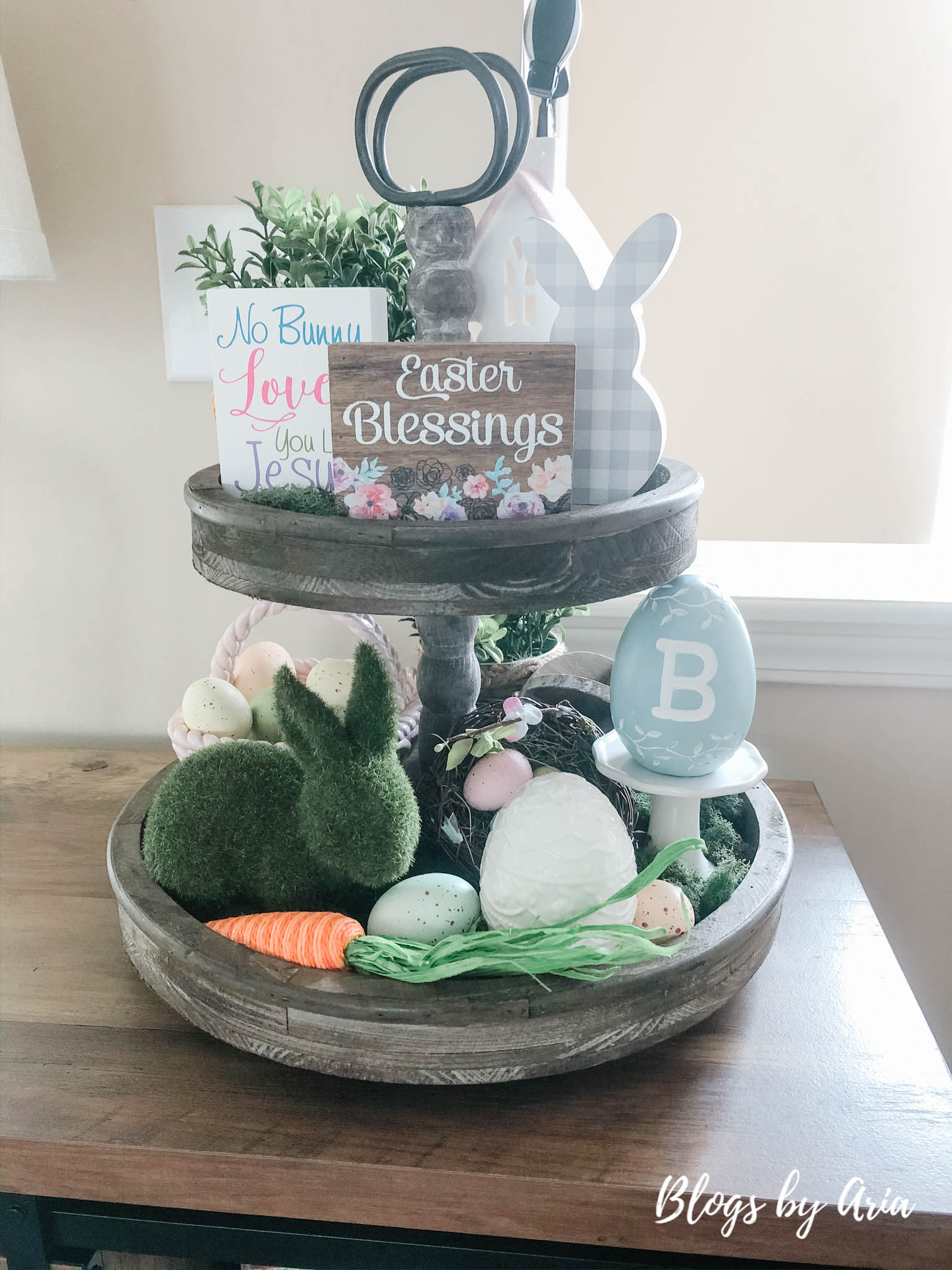 Easter rustic tiered tray