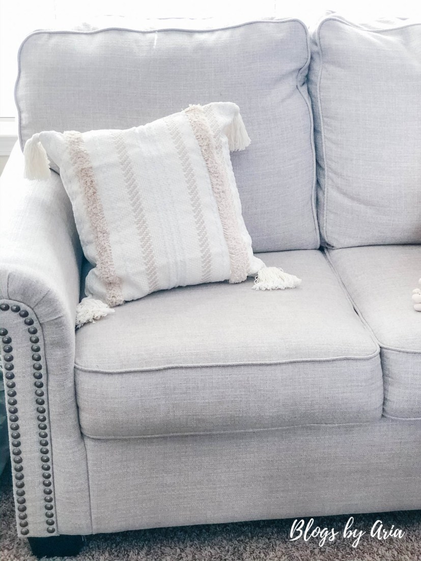 farmhouse textured pillow with tassels
