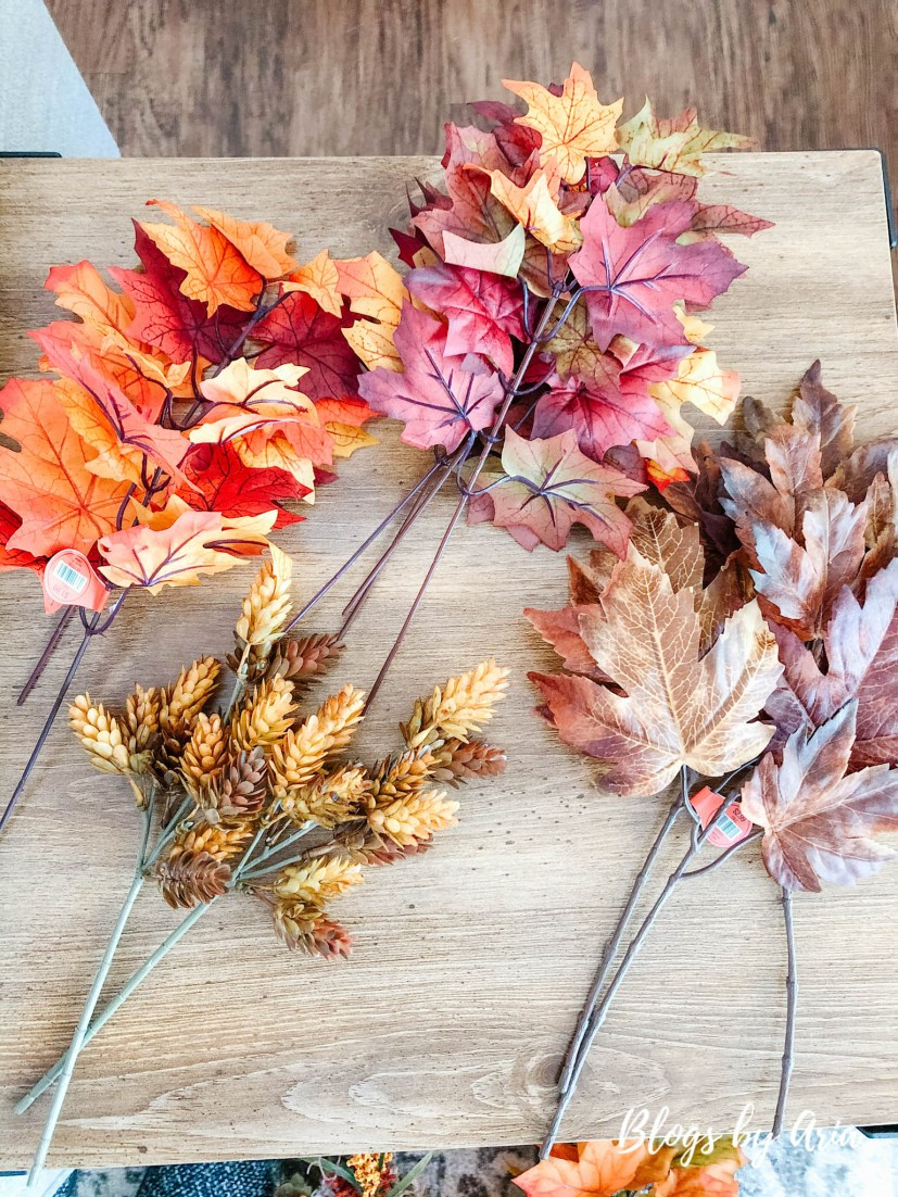 Use different color fall floral picks to add depth and variety to garland