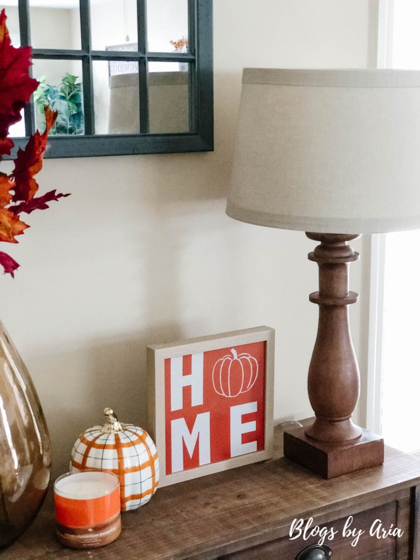 decorate console table for fall