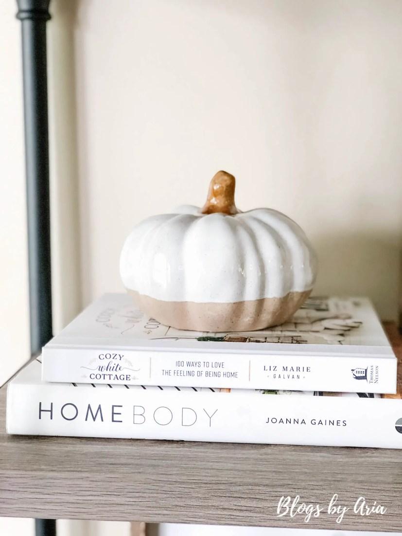 neutral fall styled shelves