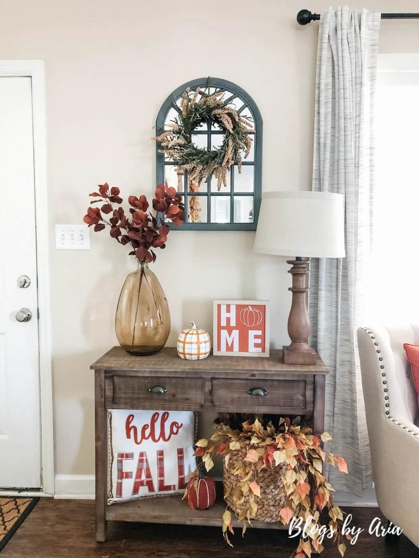 autumn home entryway table