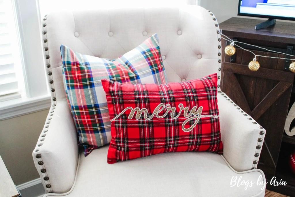 Stewart plaid pillows