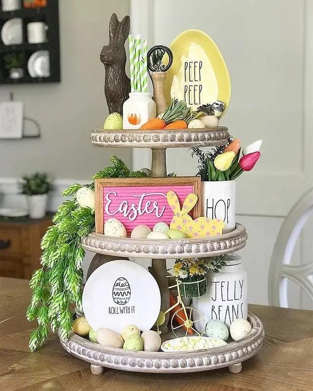 Easter three tier tray