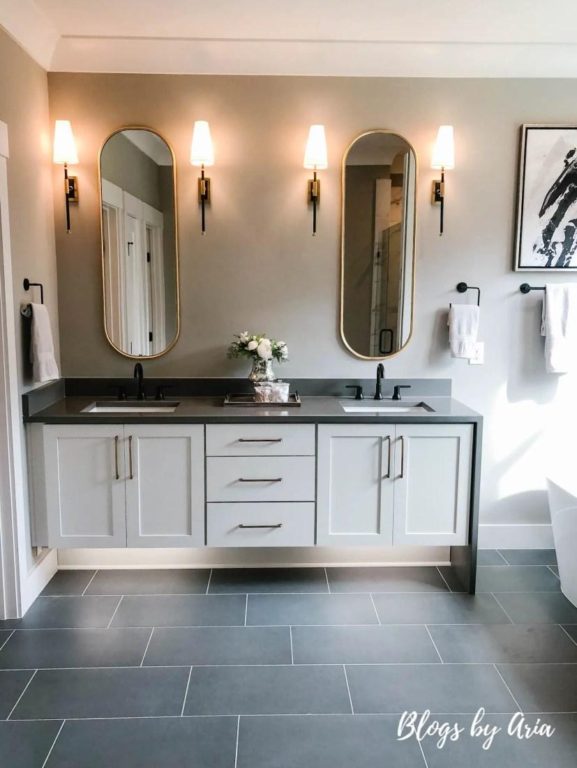 glam black and gold modern farmhouse bathroom