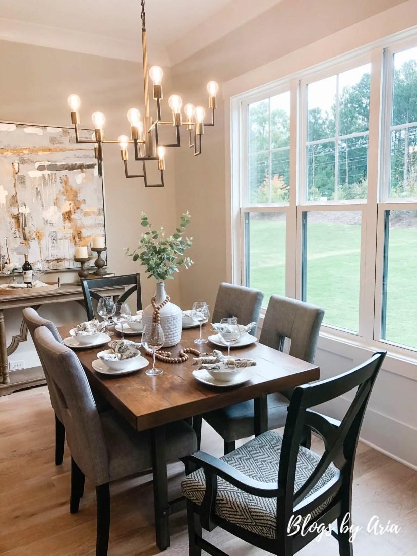 modern farmhouse glam dining room