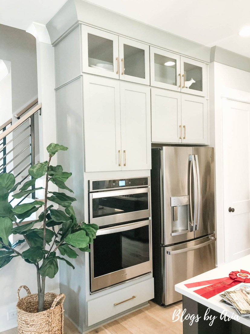 modern farmhouse kitchen with gray cabinets