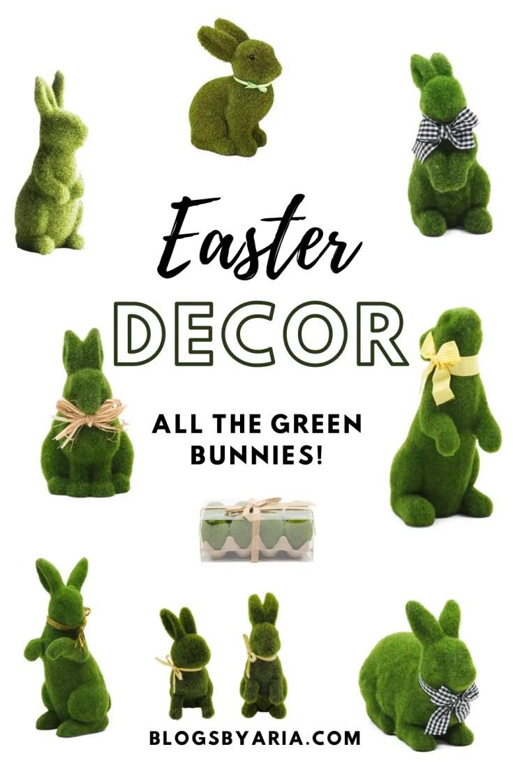 Easter green moss bunny decor
