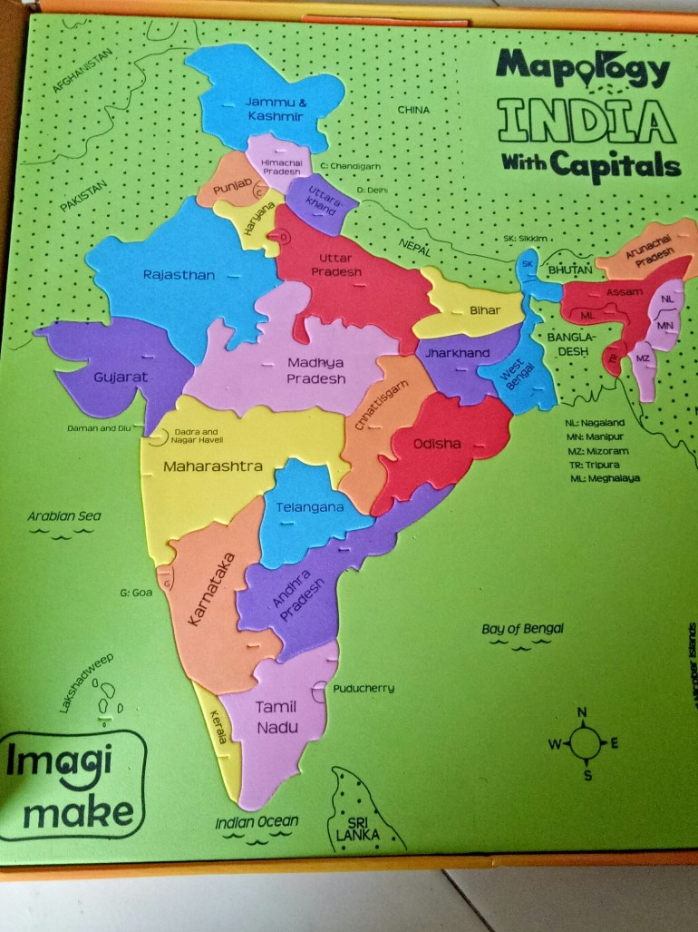 Foam based Indian map puzzle for better imagination