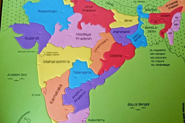 Foam based Indian map puzzle