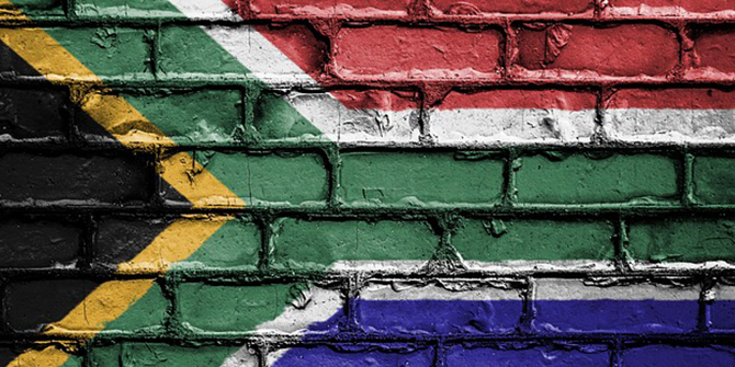 Wall with the South African flag