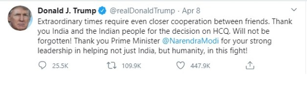 Trump thanks Modi