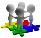 Puzzle Solved And 3d Characters Shows Unity And Teamwork by Stuart Miles