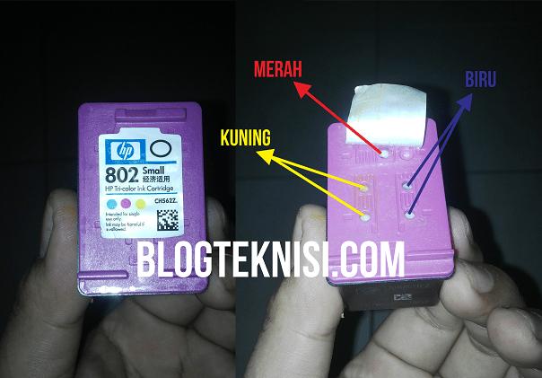 Posisi lubang pengisian tinta warna printer