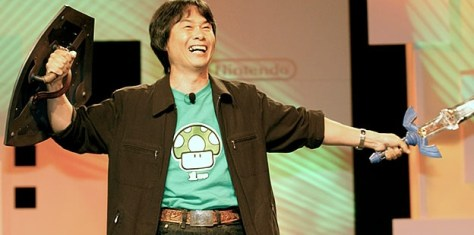 Shigeru Miyamoto como Link en el E3 2004.