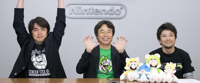 Shigeru Miyamoto y los directores de Super Mario 3D World