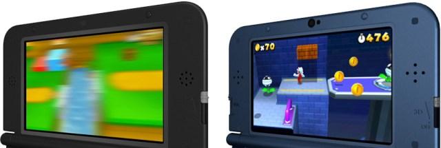 Ilustración que muestra la mejora del 3D. Izquierda modelo original, derecha New Nintendo 3DS