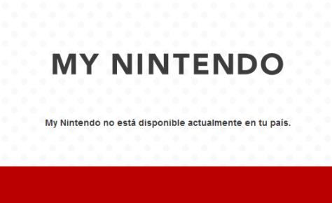 Página que muestra el bloqueo regional de My Nintendo
