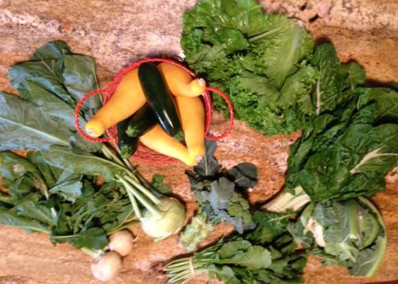 Hakurei turnips are pictured bottom left.