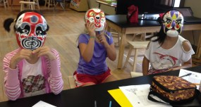 The rest of the gang wearing masks---can you guess who is who?
